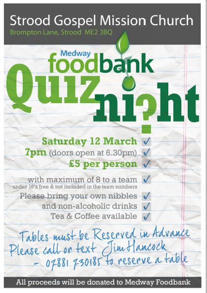 Foodbank Quiznight All Saints Community Project Trust